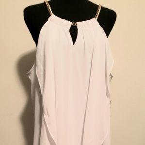 Thalia Sodi Chain Neck High Low Halter Dress White